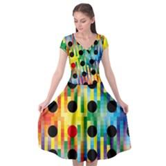 Watermark Circles Squares Polka Dots Rainbow Plaid Cap Sleeve Wrap Front Dress by Mariart