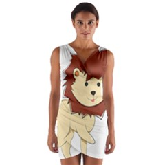 Happy Cartoon Baby Lion Wrap Front Bodycon Dress by Catifornia