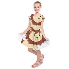 Happy Cartoon Baby Lion Kids  Short Sleeve Dress by Catifornia