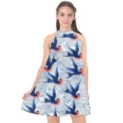 Blue Birds Halter Neckline Chiffon Dress  by PattyVilleDesigns