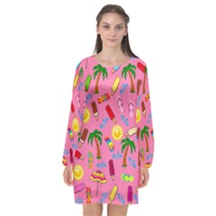 Beach Pattern Long Sleeve Chiffon Shift Dress
