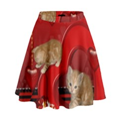 Cute, Playing Kitten With Hearts High Waist Skirt by FantasyWorld7