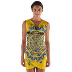 Happy Fantasy Earth Mandala Wrap Front Bodycon Dress by pepitasart