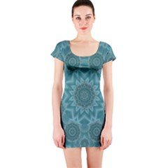 Wood And Stars In The Blue Pop Art Short Sleeve Bodycon Dress by pepitasart