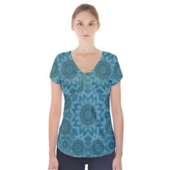 Wood And Stars In The Blue Pop Art Short Sleeve Front Detail Top by pepitasart