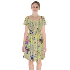 Paint Strokes On A Wood Background                      Short Sleeve Bardot Dress by LalyLauraFLM