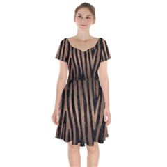 Skin4 Black Marble & Bronze Metal (r) Short Sleeve Bardot Dress by trendistuff