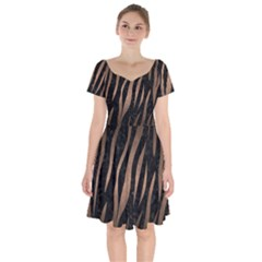 Skin2 Black Marble & Bronze Metal Short Sleeve Bardot Dress by trendistuff