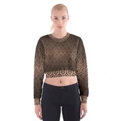 Hexagon1 Black Marble & Bronze Metal (r) Cropped Sweatshirt by trendistuff