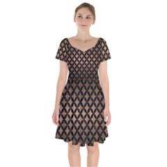 Circles3 Black Marble & Bronze Metal (r) Short Sleeve Bardot Dress by trendistuff