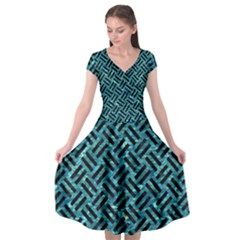 Woven2 Black Marble & Blue Green Water (r) Cap Sleeve Wrap Front Dress by trendistuff
