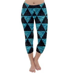 Triangle3 Black Marble & Blue Green Water Capri Winter Leggings  by trendistuff