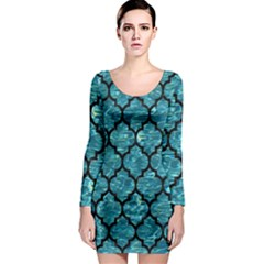 Tile1 Black Marble & Blue Green Water (r) Long Sleeve Bodycon Dress by trendistuff