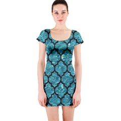 Tile1 Black Marble & Blue Green Water (r) Short Sleeve Bodycon Dress by trendistuff