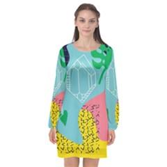 Behance Feelings Beauty Waves Blue Yellow Pink Green Leaf Long Sleeve Chiffon Shift Dress  by Mariart