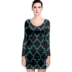 Tile1 Black Marble & Blue Green Water Long Sleeve Bodycon Dress by trendistuff