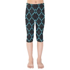 Tile1 Black Marble & Blue Green Water Kids  Capri Leggings  by trendistuff