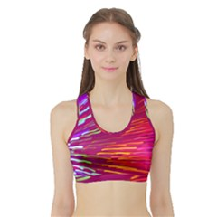 Zoom Colour Motion Blurred Zoom Background With Ray Of Light Hurtling Towards The Viewer Sports Bra With Border by Mariart