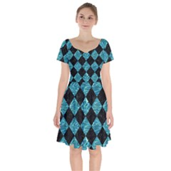 Square2 Black Marble & Blue Green Water Short Sleeve Bardot Dress by trendistuff