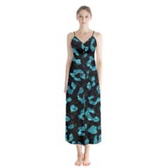 Skin5 Black Marble & Blue Green Water (r) Button Up Chiffon Maxi Dress by trendistuff