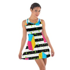 Cube Line Polka Dots Horizontal Triangle Pink Yellow Blue Green Black Flag Cotton Racerback Dress