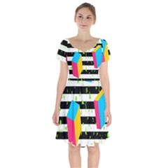 Cube Line Polka Dots Horizontal Triangle Pink Yellow Blue Green Black Flag Short Sleeve Bardot Dress
