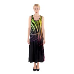 Colorful Abstract Fantasy Modern Green Gold Purple Light Black Line Sleeveless Maxi Dress