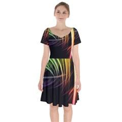 Colorful Abstract Fantasy Modern Green Gold Purple Light Black Line Short Sleeve Bardot Dress