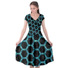 Hexagon2 Black Marble & Blue Green Water Cap Sleeve Wrap Front Dress by trendistuff