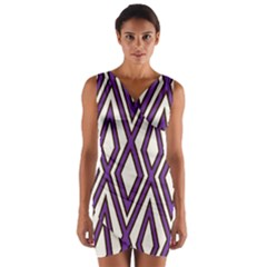 Diamond Key Stripe Purple Chevron Wrap Front Bodycon Dress by Mariart