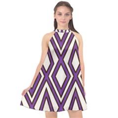 Diamond Key Stripe Purple Chevron Halter Neckline Chiffon Dress  by Mariart