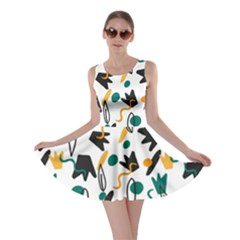 Flowers Duck Legs Line Skater Dress