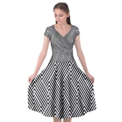 Escher Striped Black And White Plain Vinyl Cap Sleeve Wrap Front Dress by Mariart