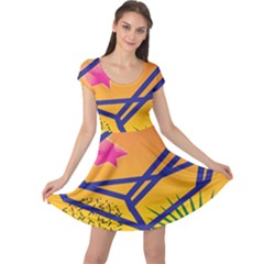 Leaf Star Cube Leaf Polka Dots Circle Behance Feelings Beauty Cap Sleeve Dresses by Mariart