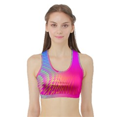 Light Aurora Pink Purple Gold Sports Bra With Border by Mariart