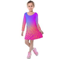 Light Aurora Pink Purple Gold Kids  Long Sleeve Velvet Dress by Mariart