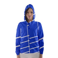 Line Stripes Blue Hooded Wind Breaker (women) by Mariart