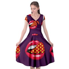 Lip Vector Hipster Example Image Star Sexy Purple Red Cap Sleeve Wrap Front Dress