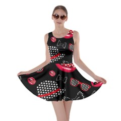 Lip Hat Vector Hipster Example Image Star Sexy Black Red Skater Dress by Mariart