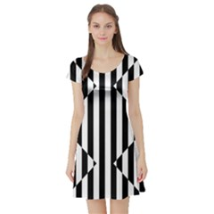 Optical Illusion Inverted Diamonds Short Sleeve Skater Dress by Mariart