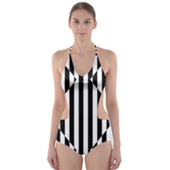 Optical Illusion Inverted Diamonds Cut Out One Piece Swimsuit by Mariart