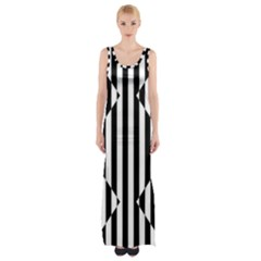 Optical Illusion Inverted Diamonds Maxi Thigh Split Dress by Mariart
