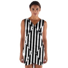 Optical Illusion Inverted Diamonds Wrap Front Bodycon Dress by Mariart