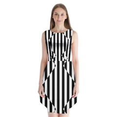 Optical Illusion Inverted Diamonds Sleeveless Chiffon Dress   by Mariart