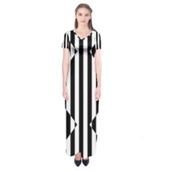 Optical Illusion Inverted Diamonds Short Sleeve Maxi Dress by Mariart