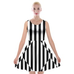 Optical Illusion Inverted Diamonds Velvet Skater Dress by Mariart