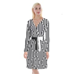 Optical Illusion Inverted Diamonds Long Sleeve Velvet Front Wrap Dress by Mariart