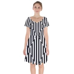 Optical Illusion Inverted Diamonds Short Sleeve Bardot Dress by Mariart