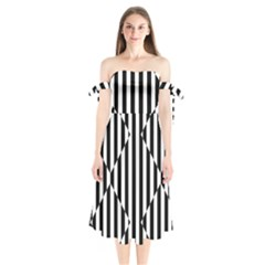 Optical Illusion Inverted Diamonds Shoulder Tie Bardot Midi Dress by Mariart