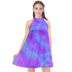Original Purple Blue Fractal Composed Overlapping Loops Misty Translucent Halter Neckline Chiffon Dress  by Mariart